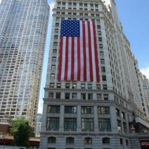 Amerykańska flaga - największa jaką widzieliśmy.